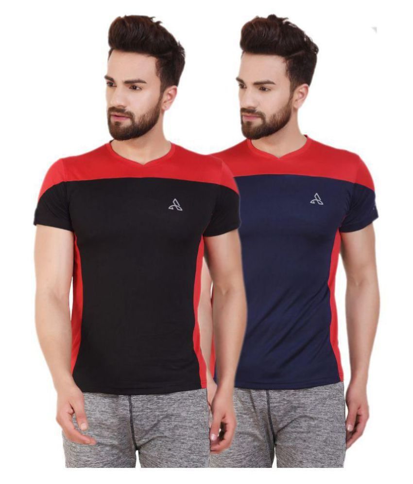 ATHLIV Multi Polyester T-Shirt Pack of 2