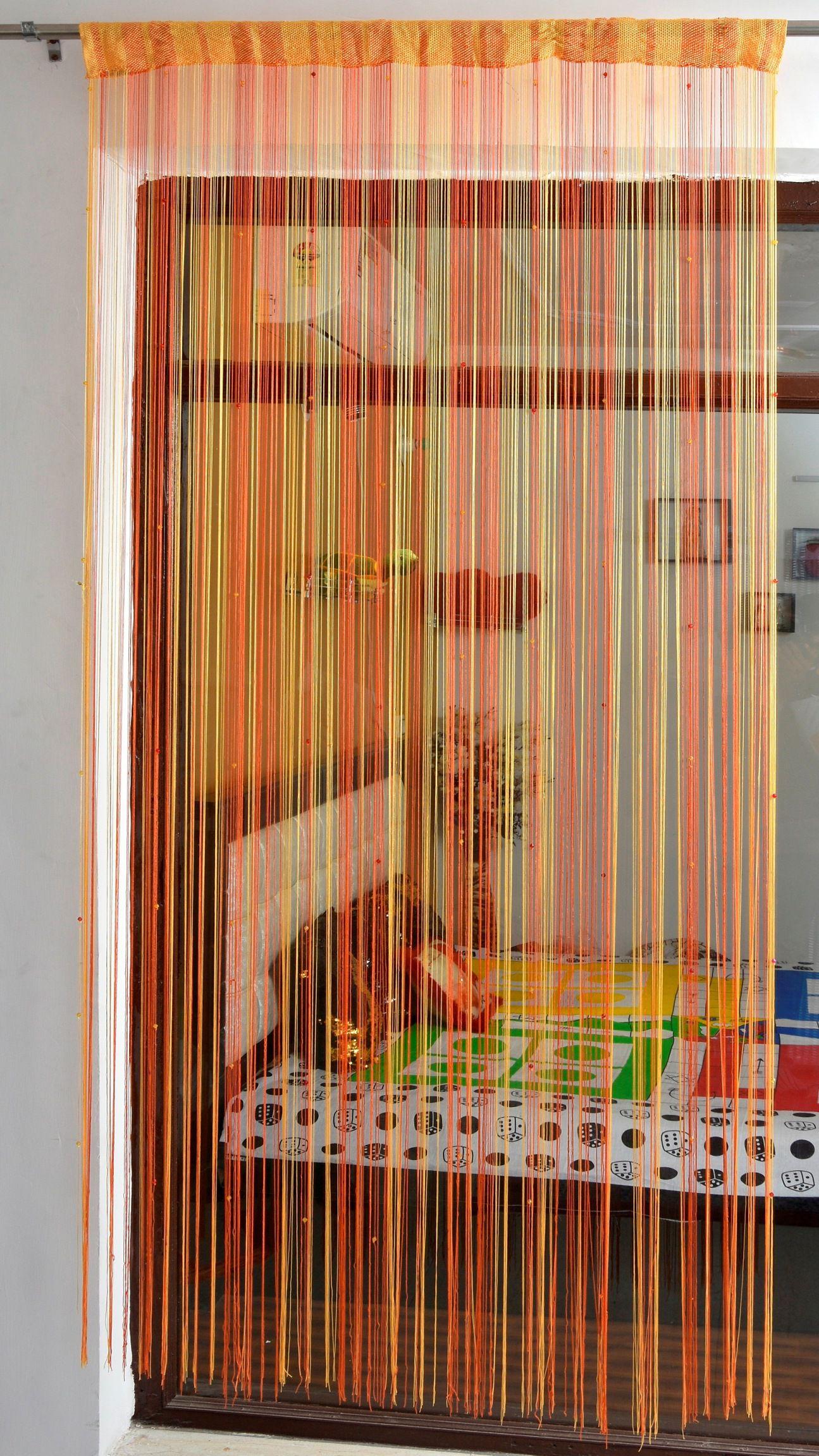 Ace International Exports Single Door Semi-Transparent Rod Pocket Polyester Curtains Orange