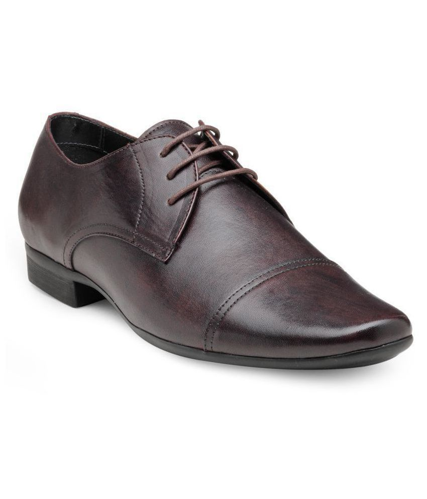 Franco Leone Derby Genuine Leather Brown Formal Shoes