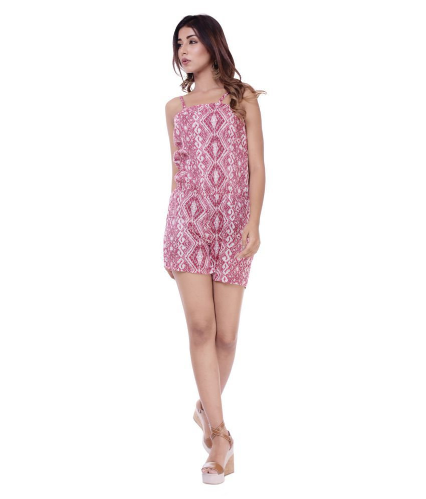 CUEGAL Pink Rayon Jumpsuit