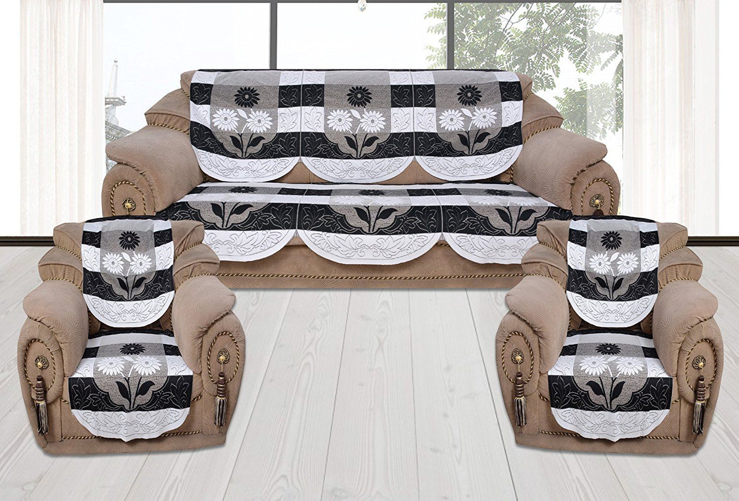 Home Stay 5 Seater Cotton Set of 10 Sofa Cover Set
