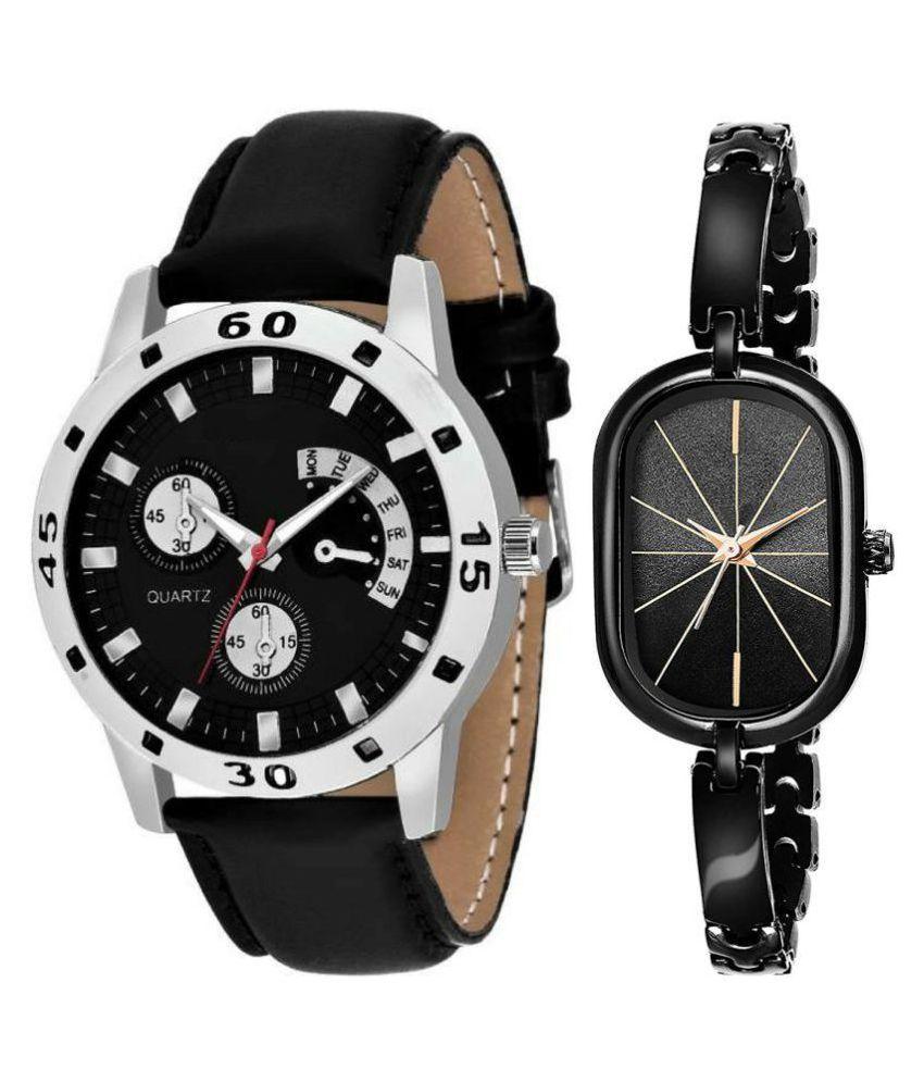 Black Dial Fancy Couple Watch
