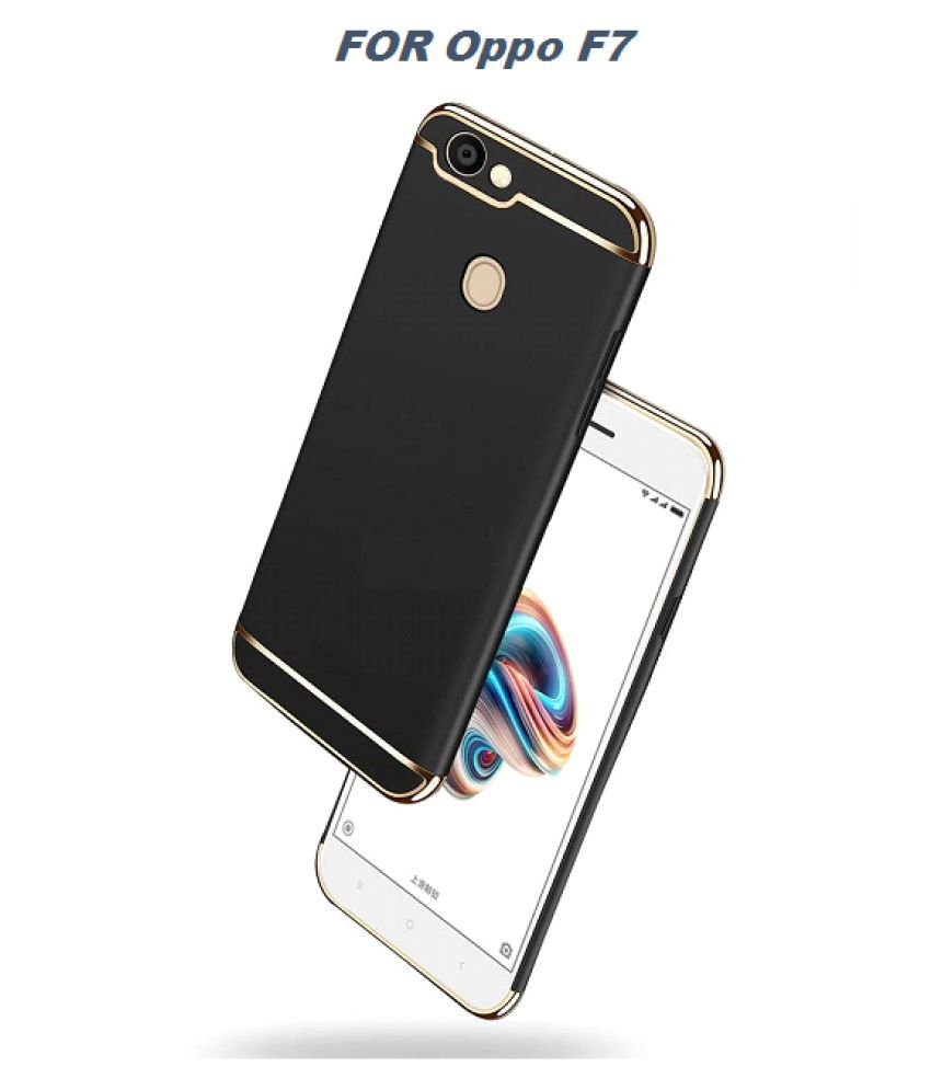 Oppo F7 Youth Plain Cases ClickAway - Black 3 in 1 Protective Cover