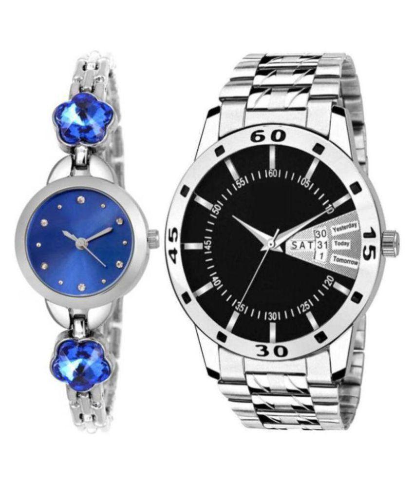 devani trading metal silver couple watch