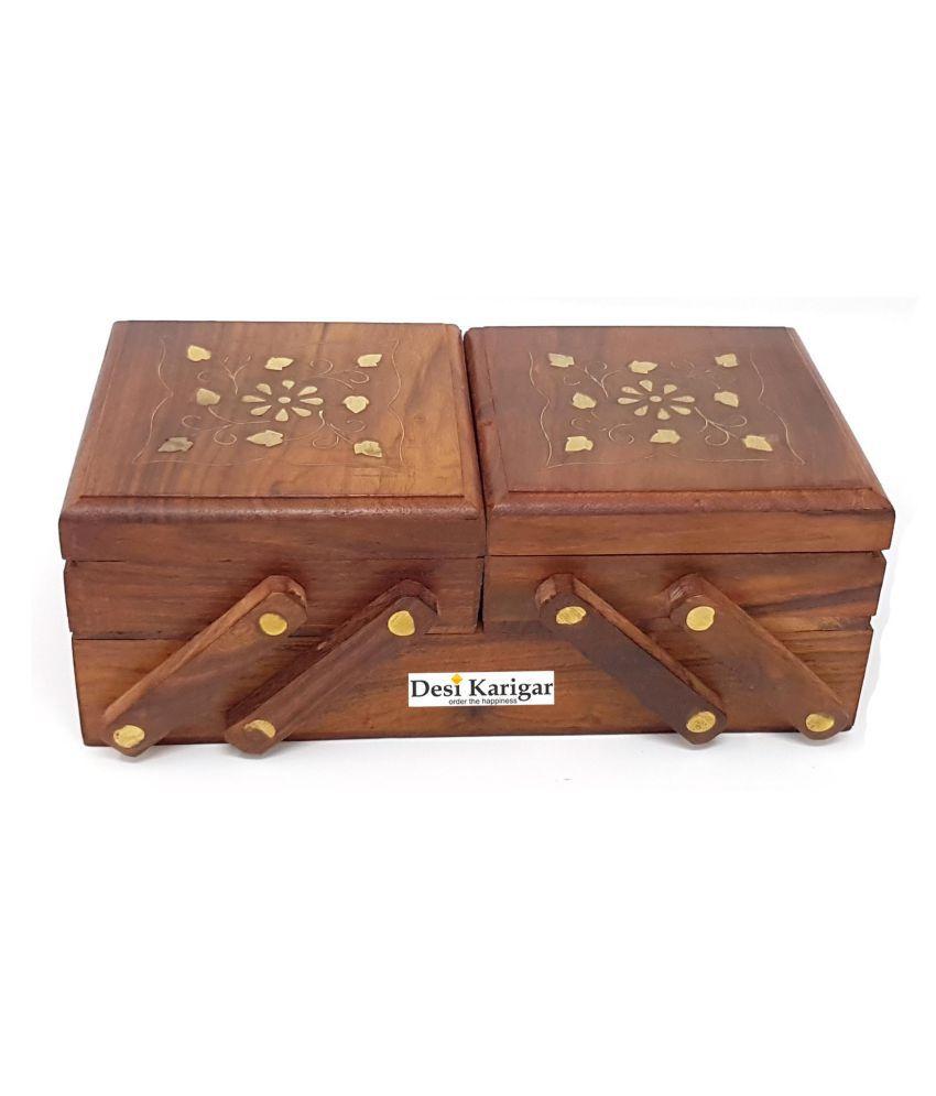 Desi Karigar Brown Wooden 3 In 1 Jewellery Box