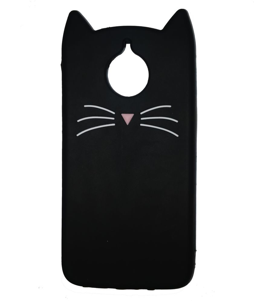 Moto G5s Plus Soft Silicon Cases Aarnik - Black Cut Cat Back Cover