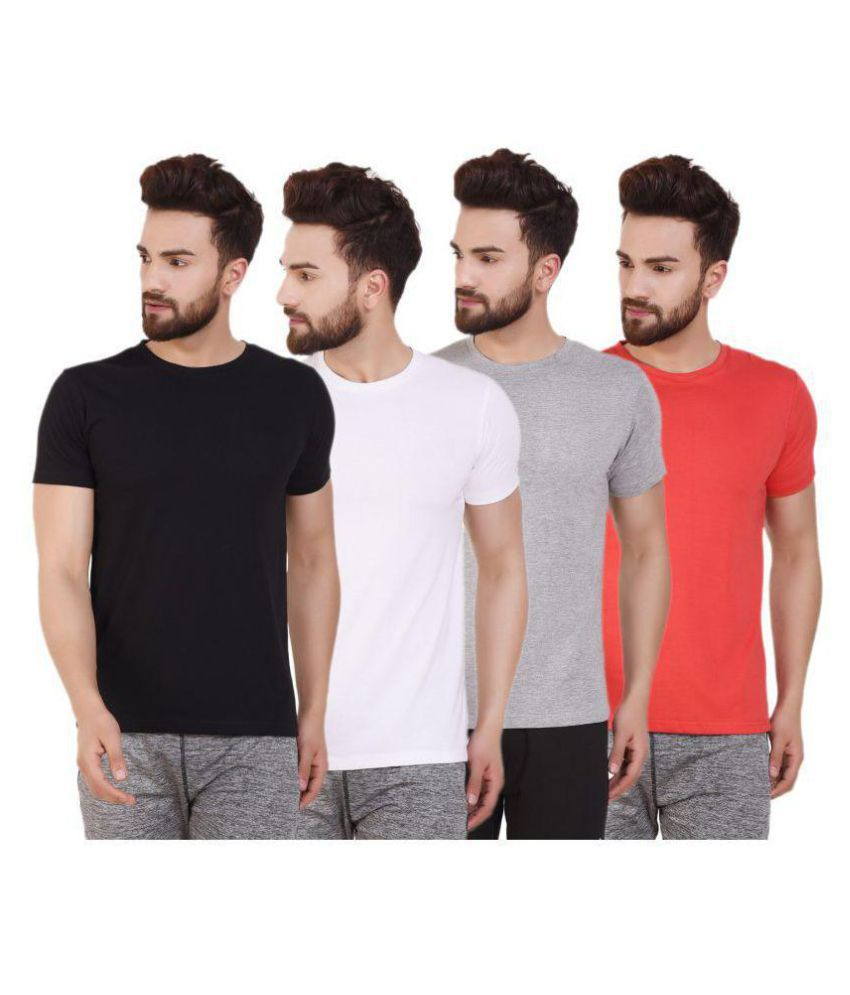 ATHLIV Multi Cotton Blend T-Shirt Pack of 4