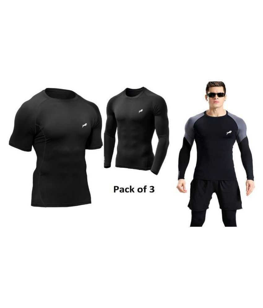 Just rider Men's Poly Cotton Gym Fit T-Shirt - Pack of 3