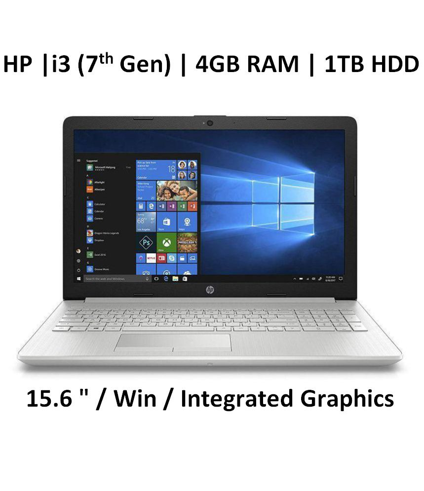 HP 15-da0326tu 2018 15.6-inch FHD Laptop (7th Gen Intel Core i3-7100U/4GB/1TB/Windows 10/Integrated Graphics), Natural Silver