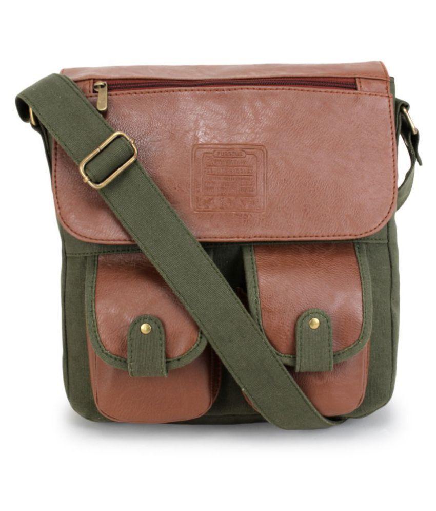 Purseus Green Canvas Casual Messenger Bag