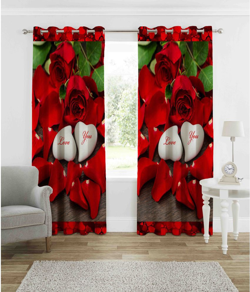 indiancraft Single Window Semi-Transparent Eyelet Polyester Curtains Red