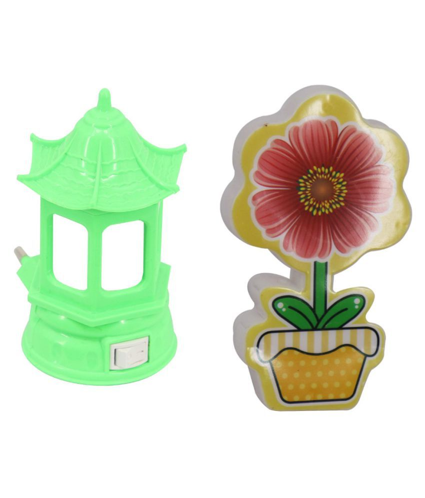 Nai Dsign LED Night Lamp Home  & Flower Shape Night Lamp White - Pack of 2