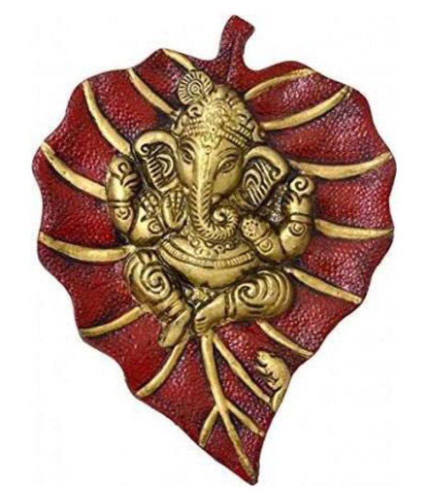 Shoptreed Aluminium Ganesh Idol on Metal Leaf Wall Sculpture Red - Pack of 1