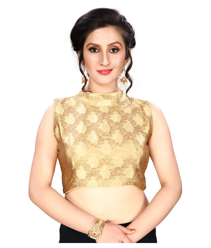 Shubh Sanidhya Beige Jacquard Readymade with Pad Blouse