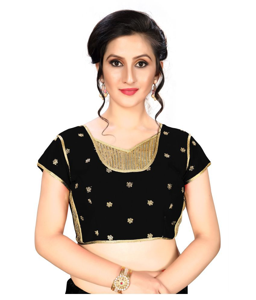 Shubh Sanidhya Black Silk Readymade with Pad Blouse