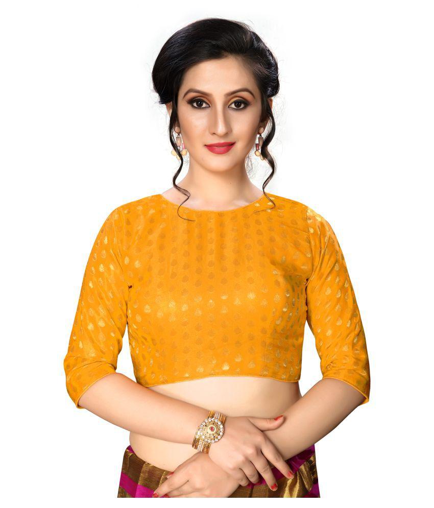 Shubh Sanidhya Orange Jacquard Readymade with Pad Blouse