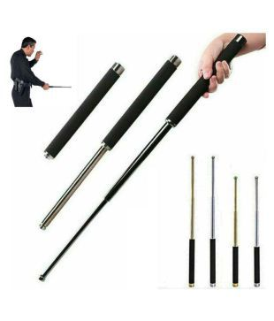 Retractable Safety Metal Stick 3-Section Telescopic Self Protect Defense Rod