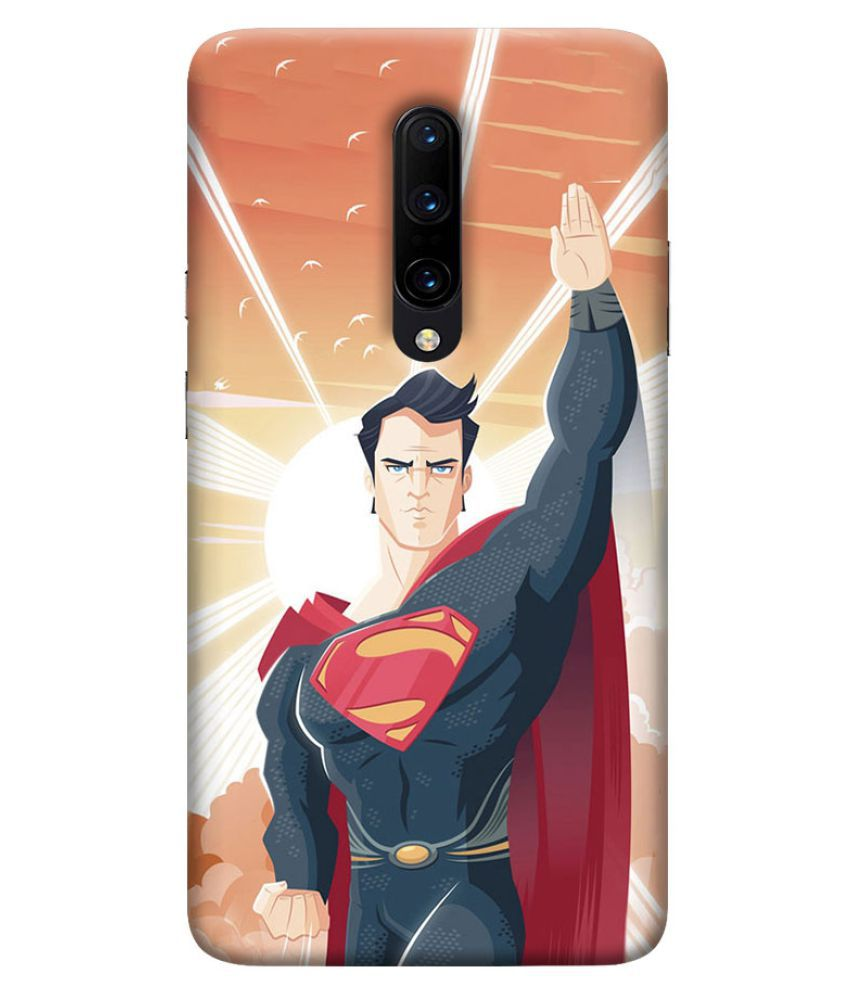 OnePlus 7 Pro Printed Cover By Digi Swipes Superman Man of Steel Mobile Back Cover and Cases Raised Lip for screen protection.