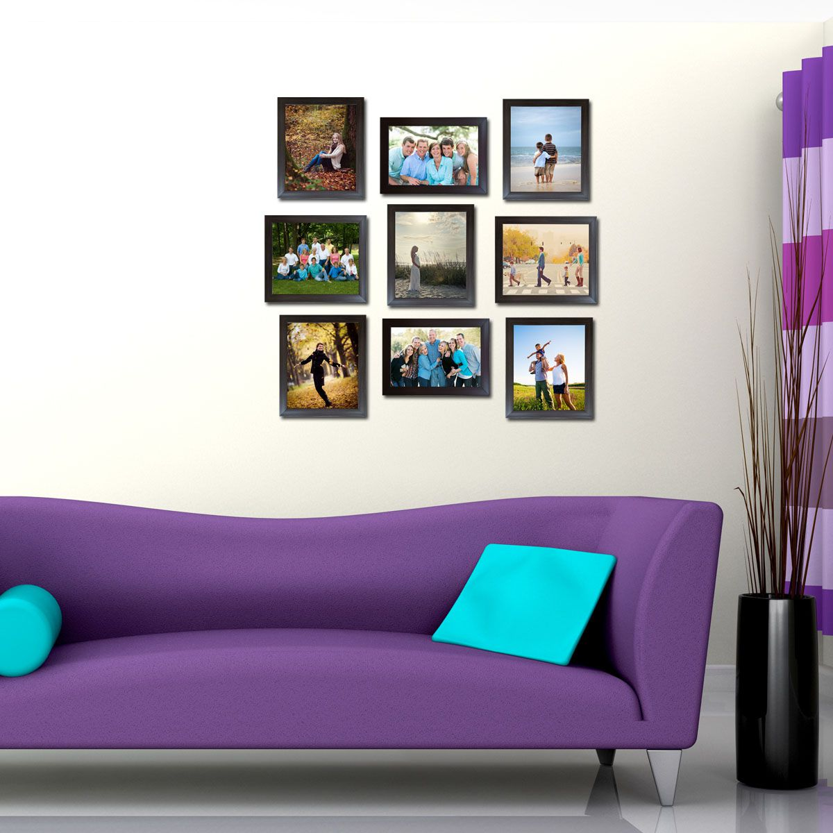 Trends on Wall Acrylic Brown Photo Frame Sets - Pack of 9