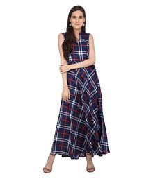 16 Always Crepe Blue Fit And Flare One piece Western Dress Women