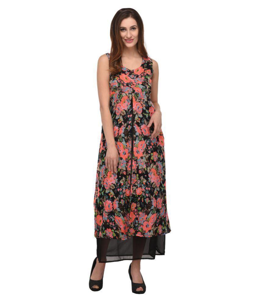 Triraj Georgette Multi Color Regular Dress