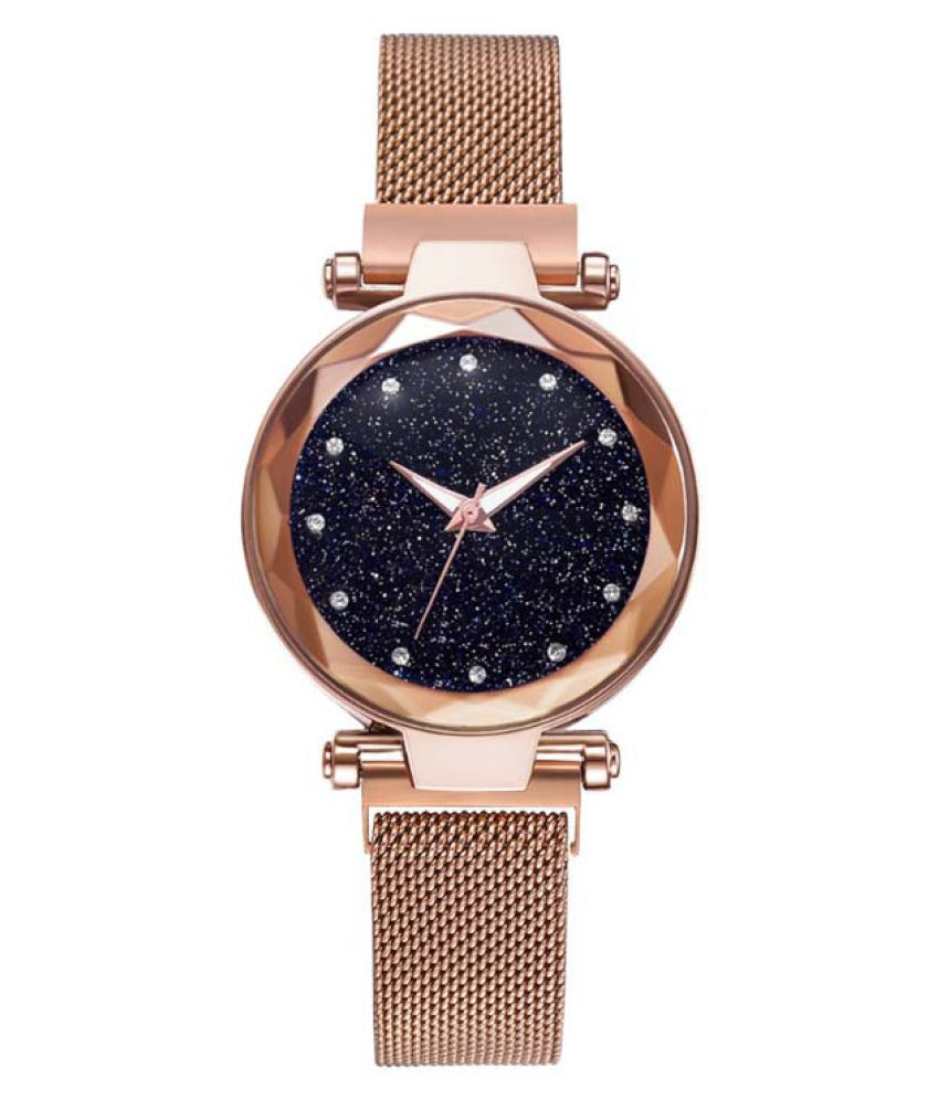COLOGO Black Dial Rose Gold Stainless Steel Milanese Mesh Strap Ladies watch - 1 Pc