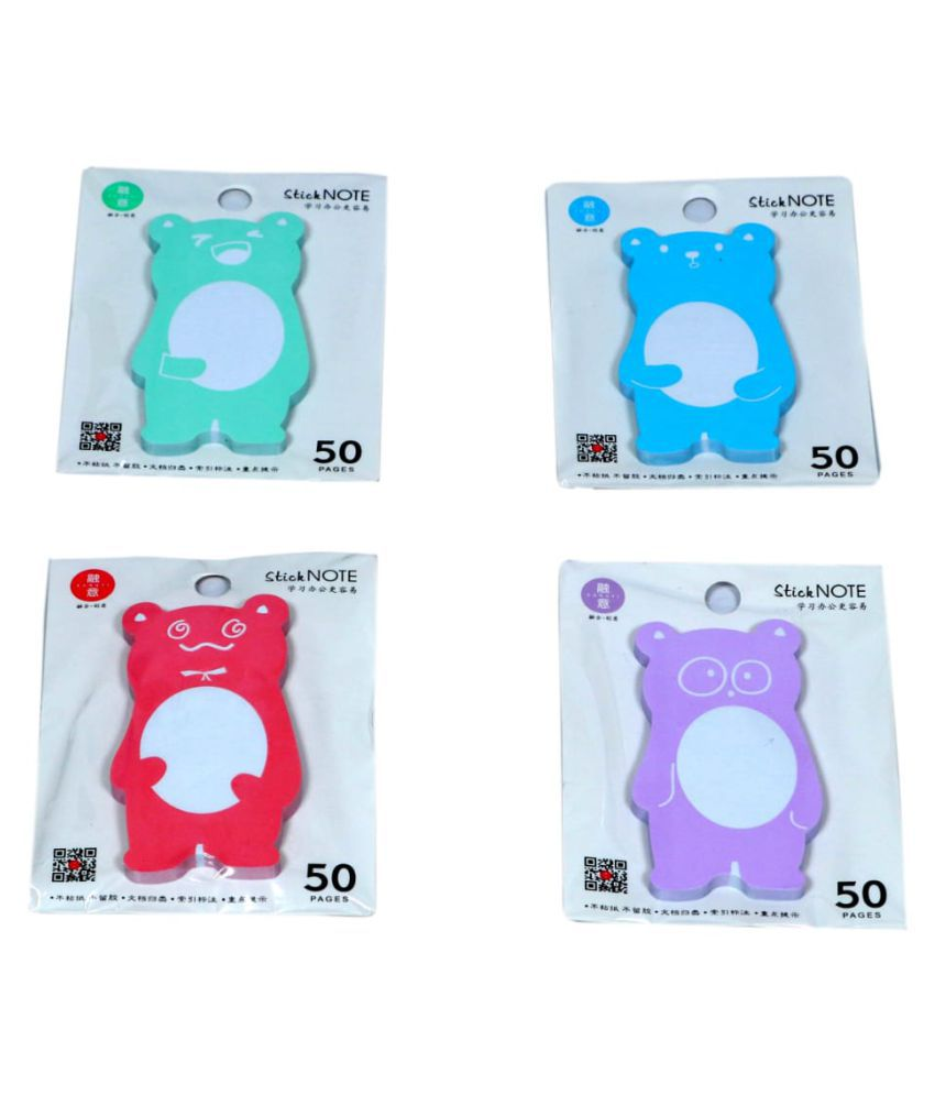 ERA INNOVATIVE GIFTING Bear Shaped Sticky Notes Novelty for School or Office Use Multicolor 9x5 Cms Pack of 4 Pad