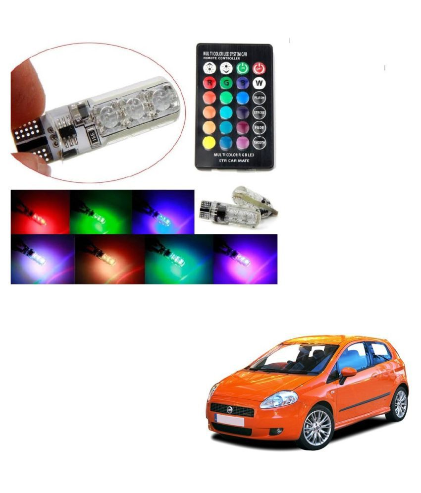 Auto Addict Car 5050 T10 6 SMD Remote Control 12V RGB Car Reading Wedge Lights for Auto Tail Light,Side,Parking,Door,Parking,Indicator,Socket Lighting Bulb 2 Pcs For Fiat Grand Punto