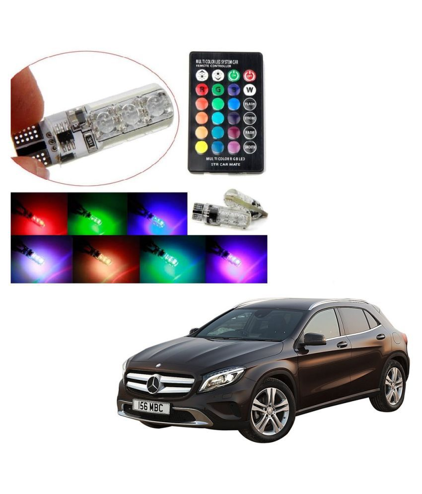 Auto Addict Car 5050 T10 6 SMD Remote Control 12V RGB Car Reading Wedge Lights for Auto Tail Light,Side,Parking,Door,Parking,Indicator,Socket Lighting Bulb 2 Pcs For Mercedes Benz GLA-Class