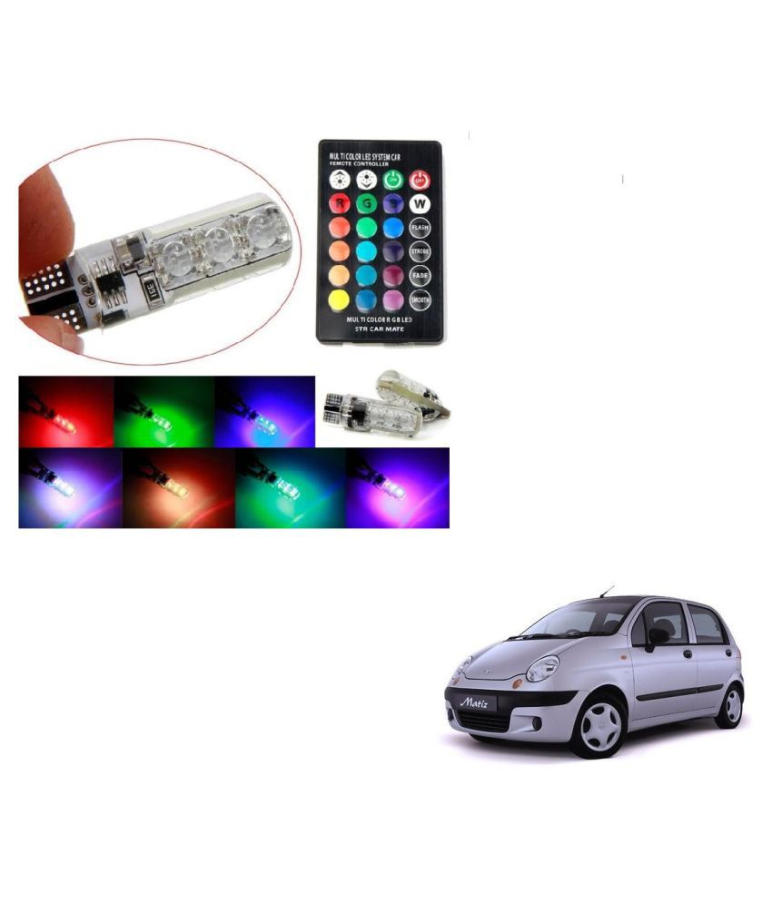 Auto Addict Car 5050 T10 6 SMD Remote Control 12V RGB Car Reading Wedge Lights for Auto Tail Light,Side,Parking,Door,Parking,Indicator,Socket Lighting Bulb 2 Pcs For Chevrolet Matiz