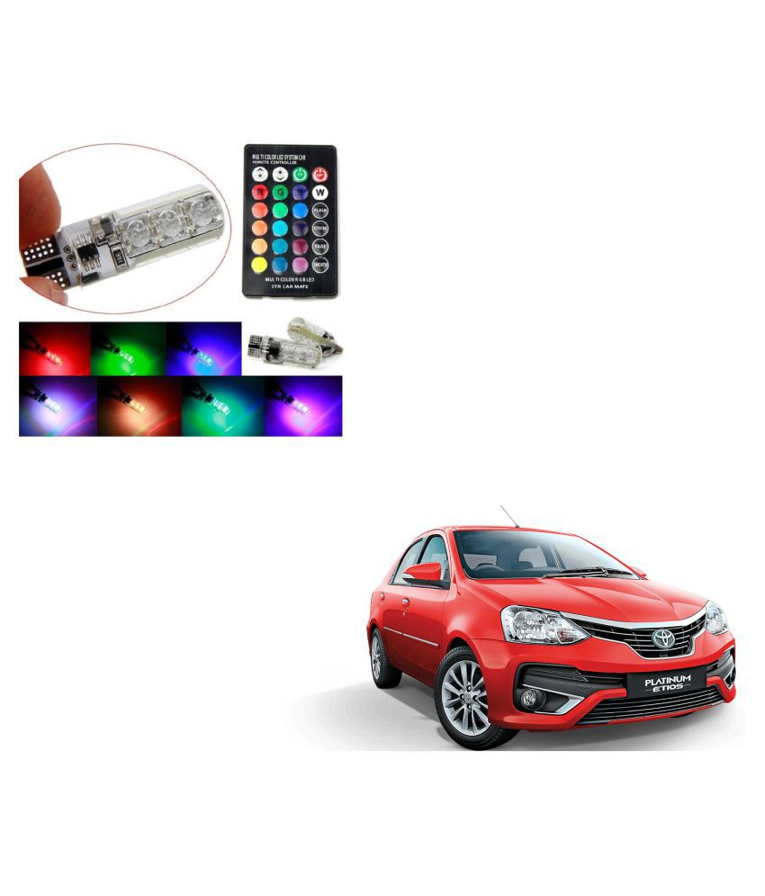 Auto Addict Car 5050 T10 6 SMD Remote Control 12V RGB Car Reading Wedge Lights for Auto Tail Light,Side,Parking,Door,Parking,Indicator,Socket Lighting Bulb 2 Pcs For Toyota Etios Platinum