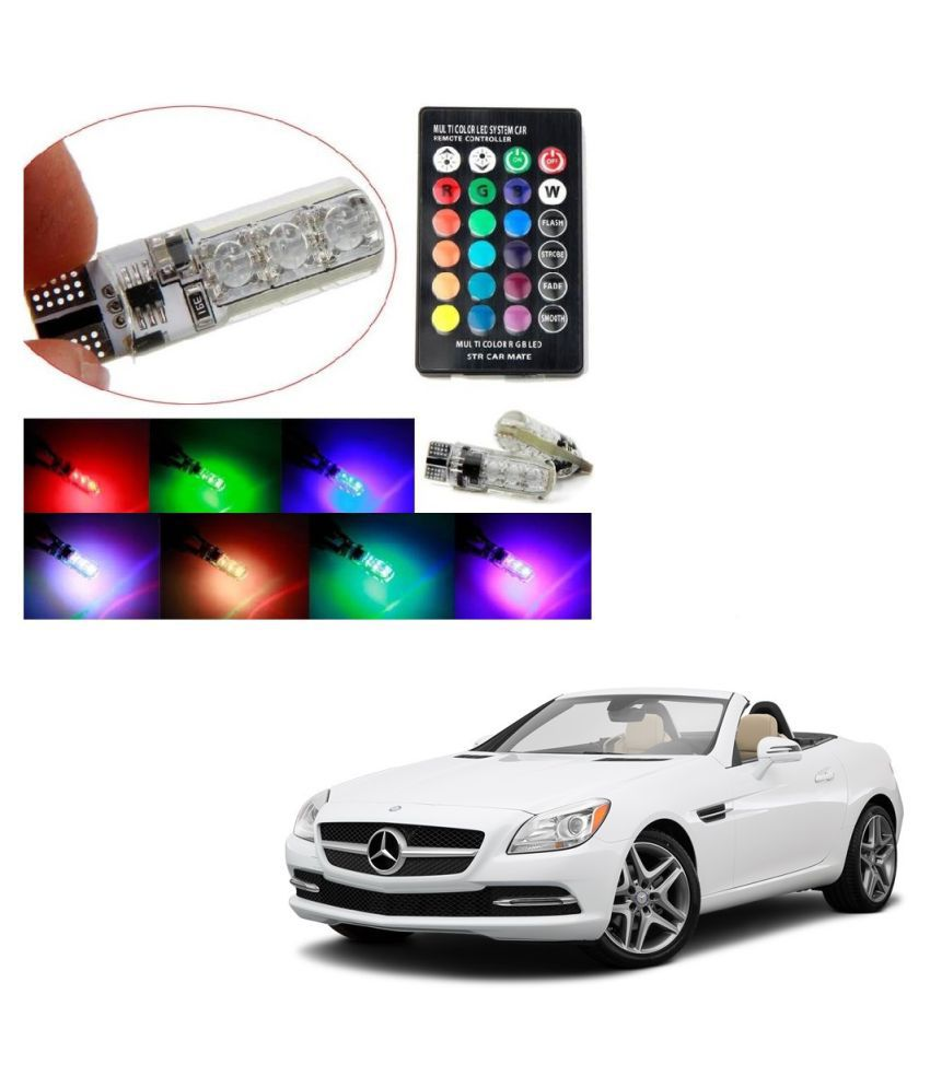 Auto Addict Car 5050 T10 6 SMD Remote Control 12V RGB Car Reading Wedge Lights for Auto Tail Light,Side,Parking,Door,Parking,Indicator,Socket Lighting Bulb 2 Pcs For Mercedes Benz SLK-Class