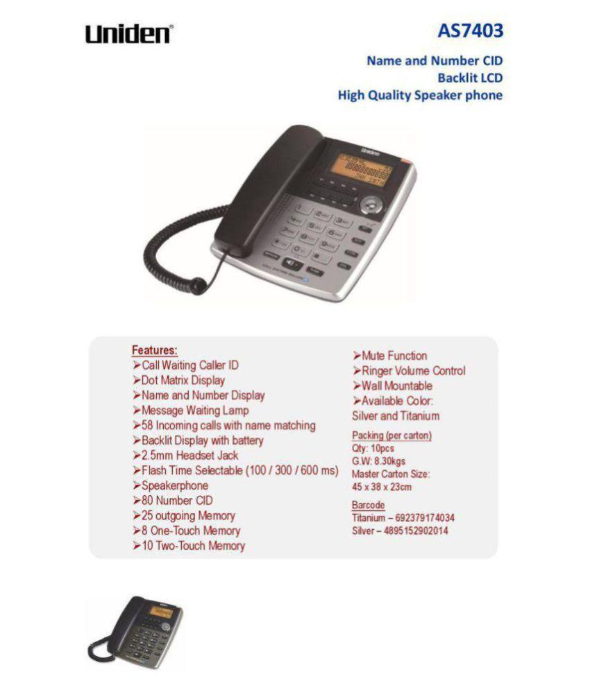 Uniden AS7403 Corded Landline Phone ( Black )