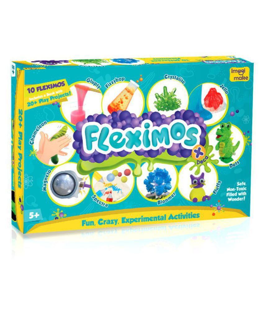 Imagimake Fleximos Deca – Play with Clay Mega Activity Set, 10 types of Clay – includes Slime Making, Crystal Clay, Putty - For Girls and Boys 5 Years +