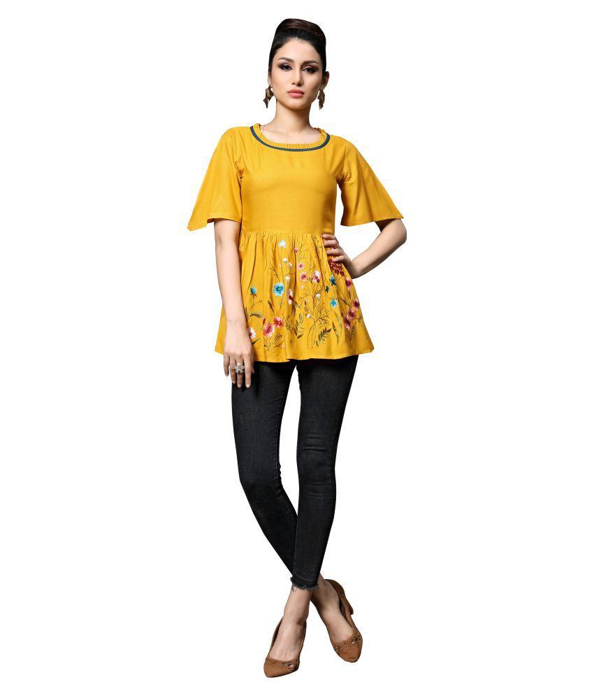 Manvaa Yellow Rayon Shirt style Kurti