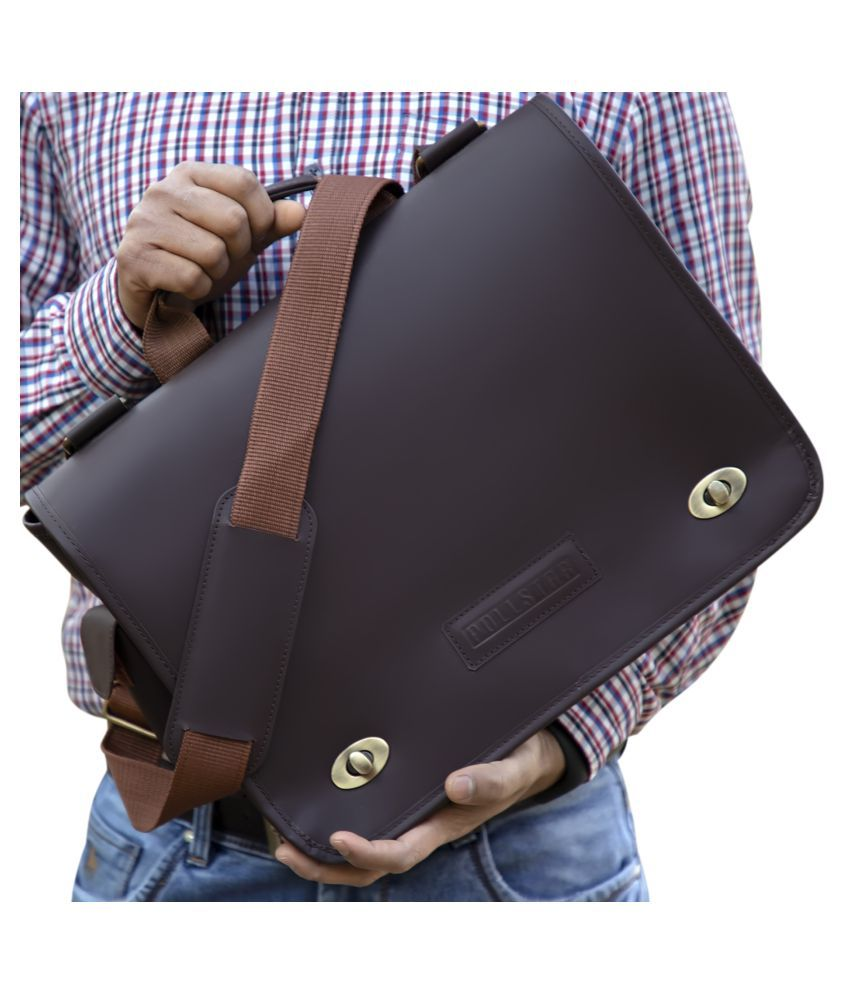 POLLSTAR MB9997BN Brown Leather Office Messenger Bag