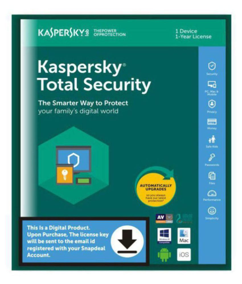 Kaspersky Total Security Latest Version ( 1 PC / 1 Year ) - Activation  Code-Email Delivery