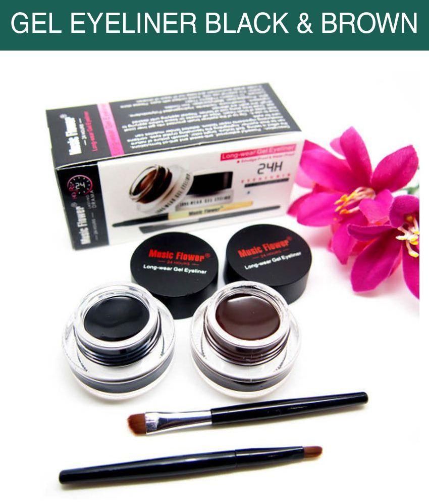 Music Flower Gel Eyeliner Black & Brown 6