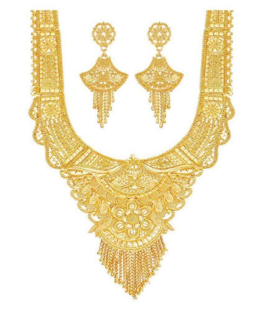 mansiyaorange Alloy Golden Long Haram Traditional 22kt Gold Plated Necklaces Set
