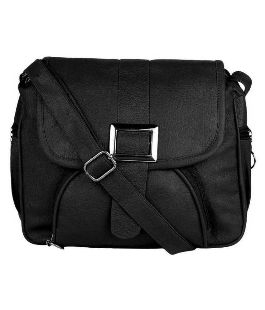 Om Shree Sai Black P.U. Shoulder Bag