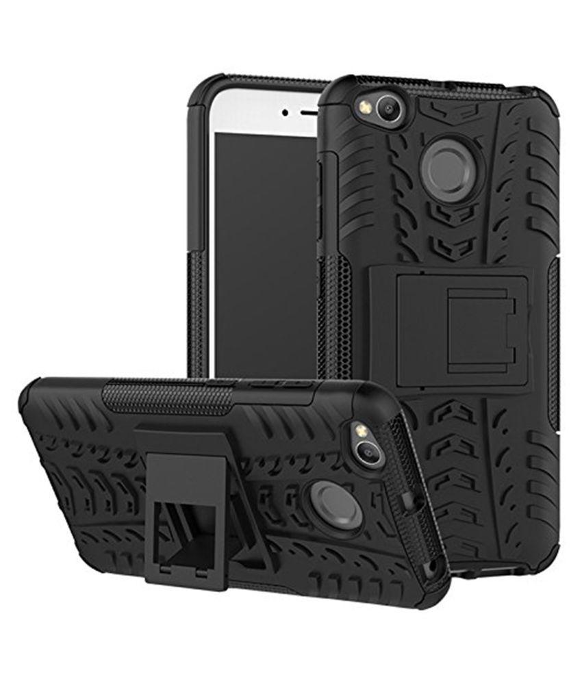 Xiaomi Redmi 4 Shock Proof Case Addindia - Black D2 Dual Layer Kickstand Cover