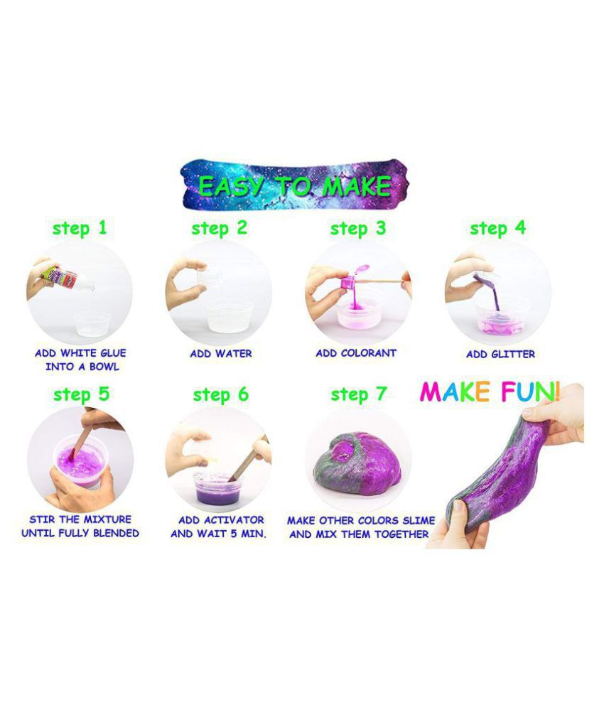 ac1516588 ... Bestie Toys Galaxy Slime Kit - Non Borax Slime Kits - Glitter Slime Lab  Kit for ...