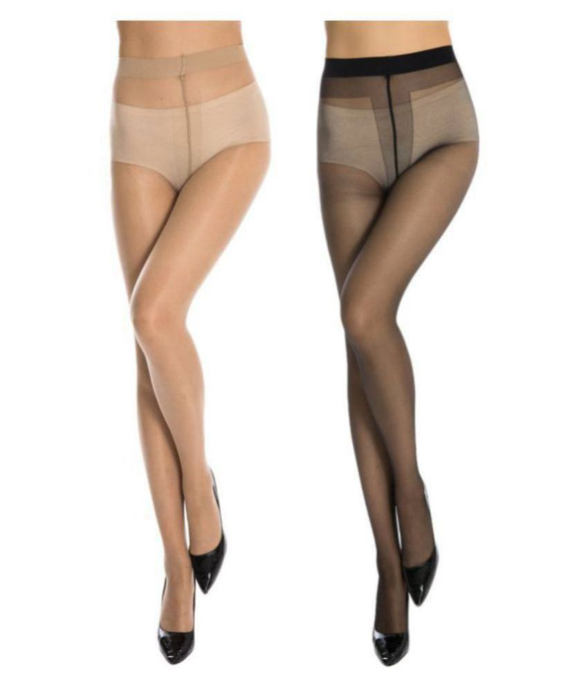 Neska Moda Women s 2 Pair Black & Skin Panty Hose Long fort
