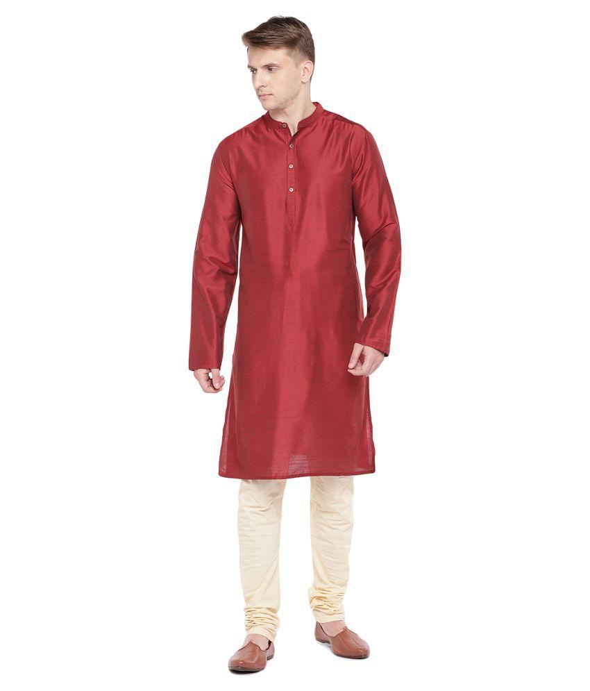 Salwar Studio Red Silk Blend Kurta Single