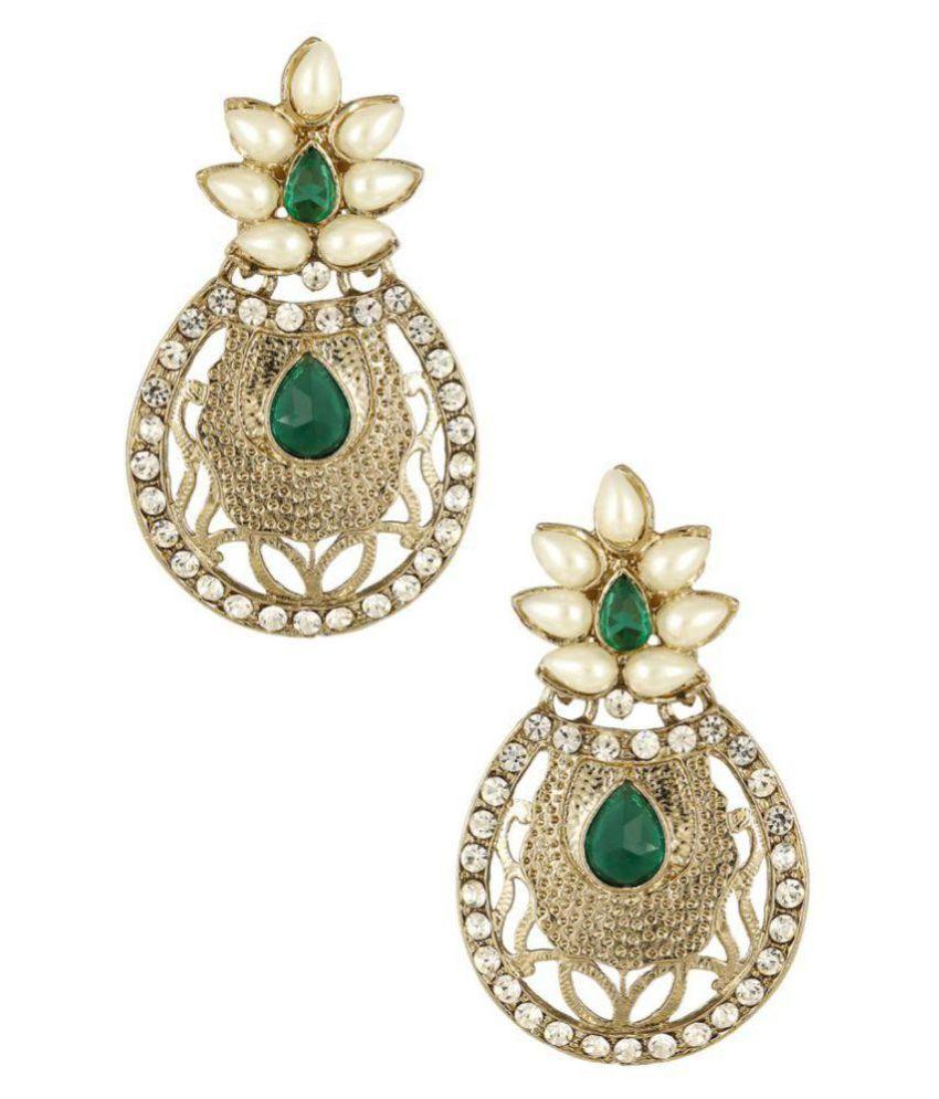 The Jewelbox Green Copper Geometrics Stud Earrings