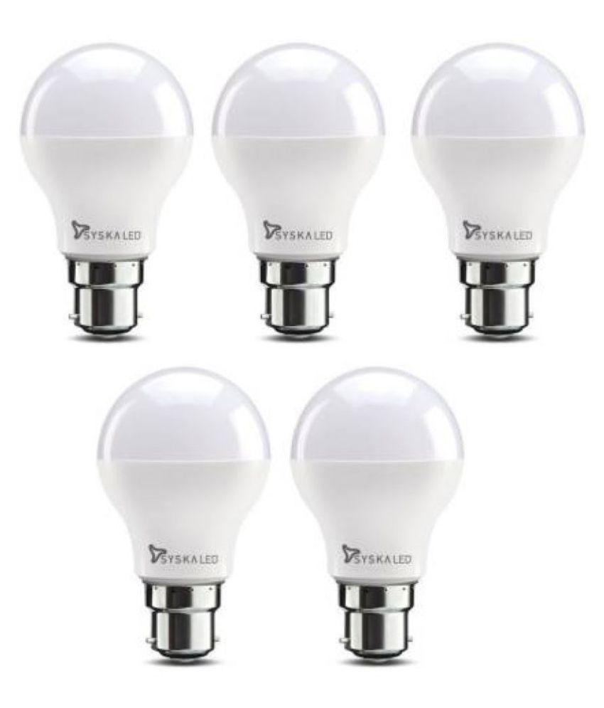 Syska 9W LED Bulb Cool Day Light - Pack of 5