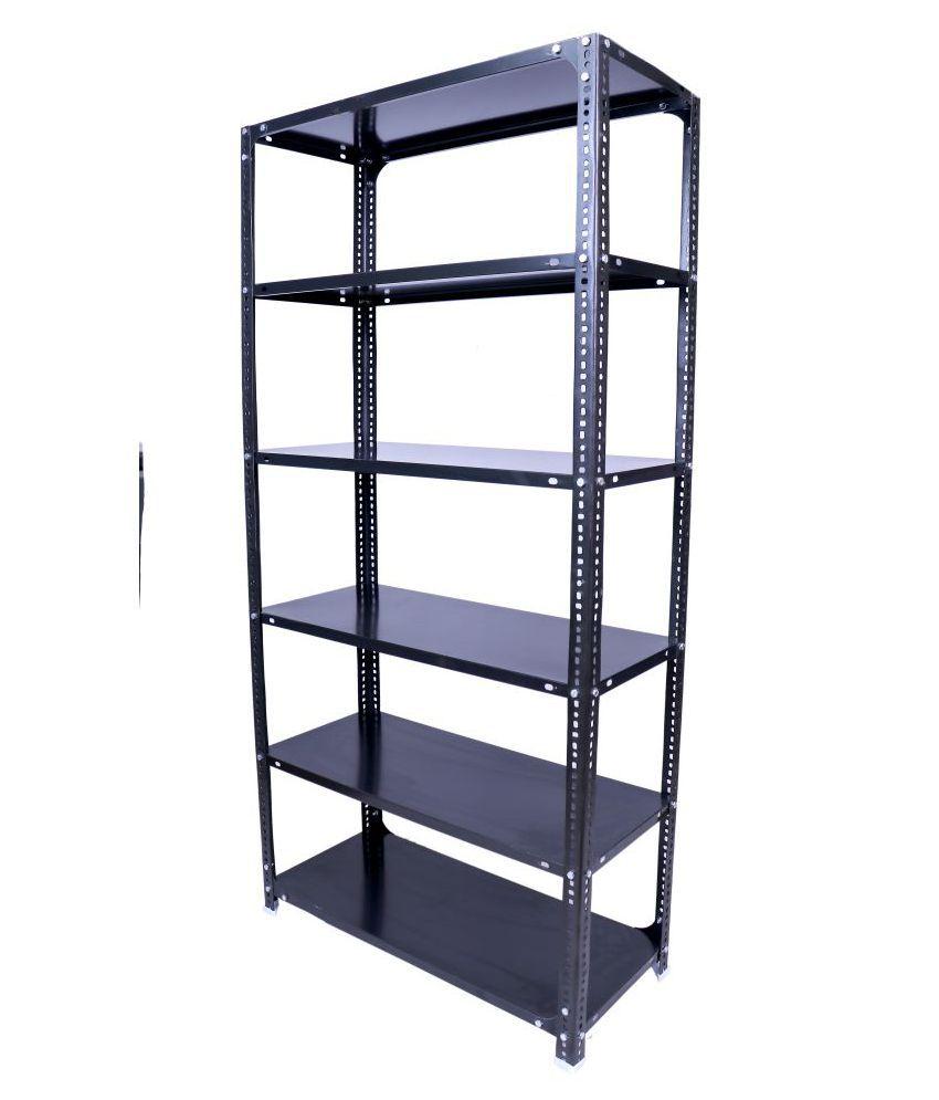 Menage metal Slotted Angle Rack 6x3x1 Feet with 6 Shelf Shelving Multi Purpose Rack Unit