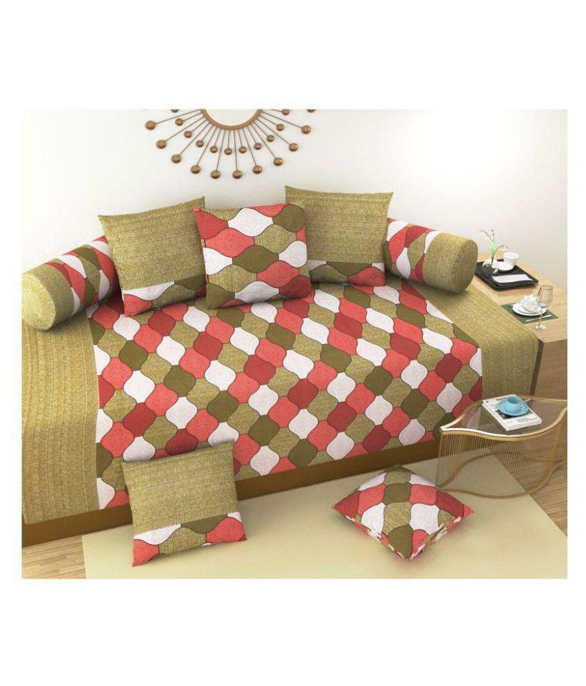 Laying Style Cotton Multi Checks Diwan Set 8 Pcs