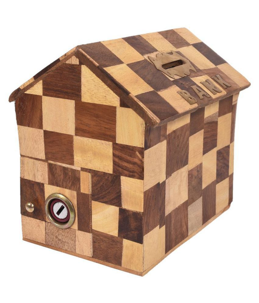 Woodykart Hut Shape Chess Pattern Wooden Coin/Money/Piggy Bank Saving Box -  (Gift for Kids | Boys/Girls | Toy )