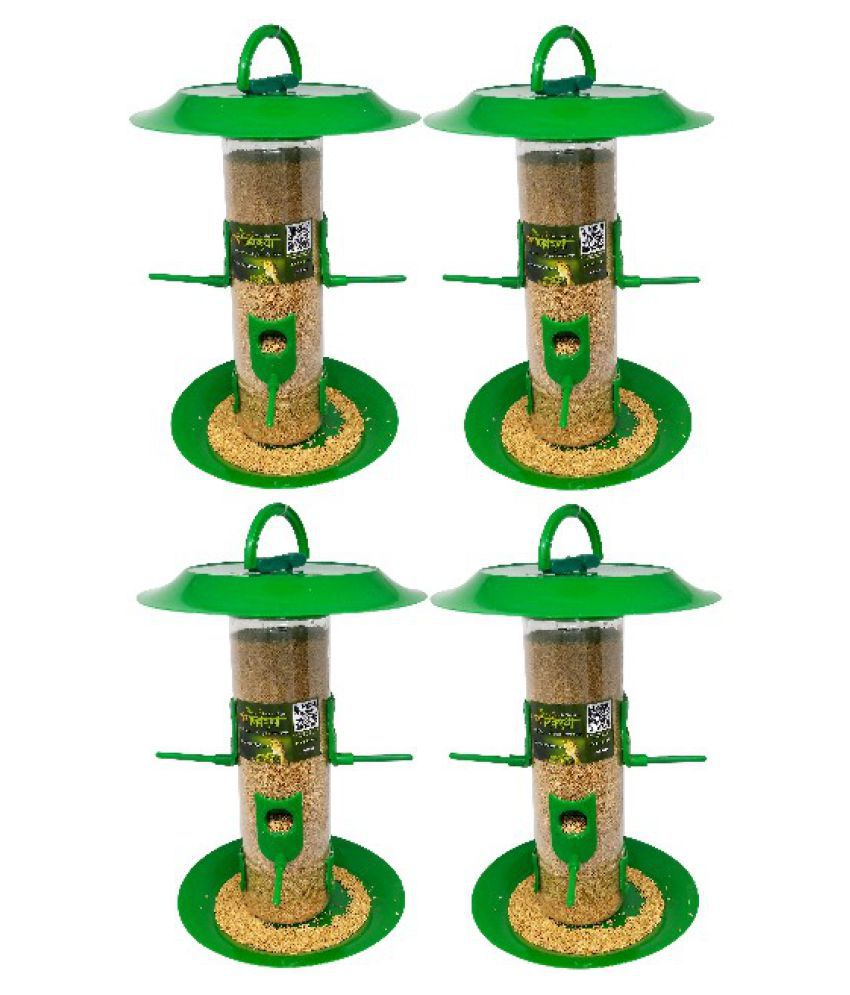 Amijivdaya Large Bird Feeder With Hut Multi Color (Pack of 4)